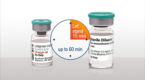 A vial of XIAFLEX® and a vial of sterile diluent, side-by-side