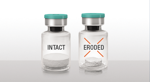 An example of what intact powder looks like versus eroded powder for XIAFLEX®