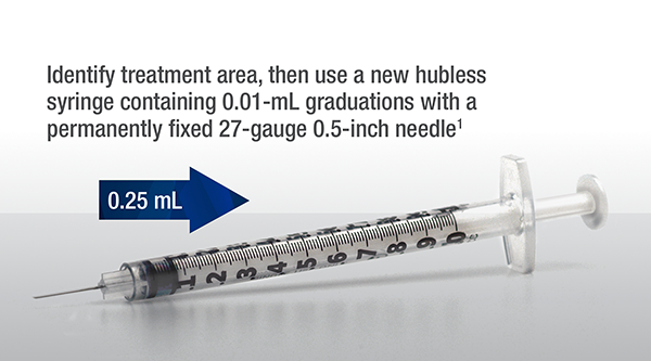 Identify treatment area, then use a new hubless syringe containing 0.01 milliliter graduations with a permanently fixed 27 guage 0.5 inch needle (1)