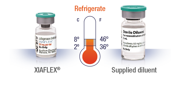Vial of XIAFLEX® and vial of the supplied diluent