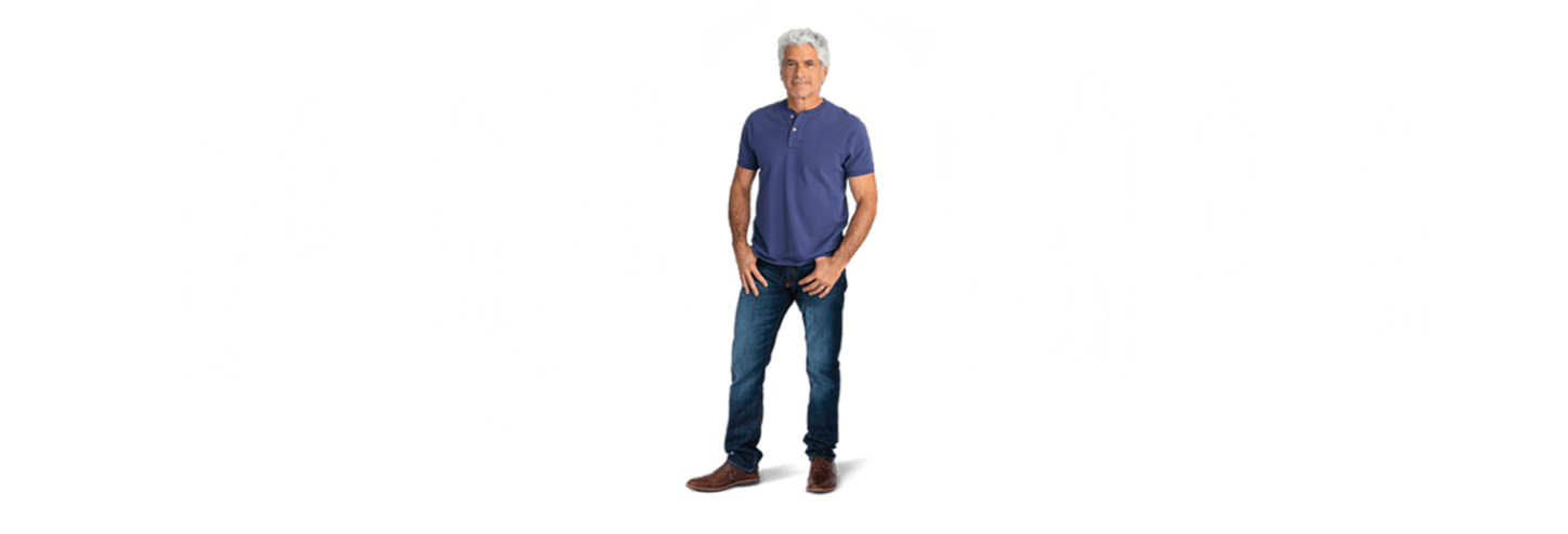 One man and 9 silhouettes showing how common Peyronie's disease is