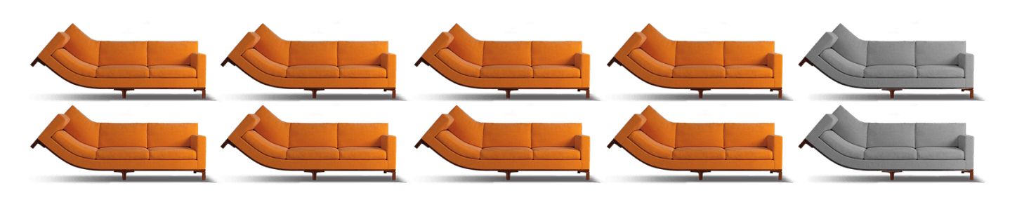 Curved couches representing percentage of men in clinical studies for XIAFLEX® who received all 4 treatment cycles