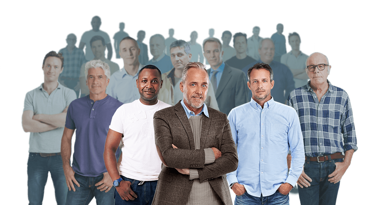 Group of men portraying the number of men that have been treated for Peyronie's disease with XIAFLEX®